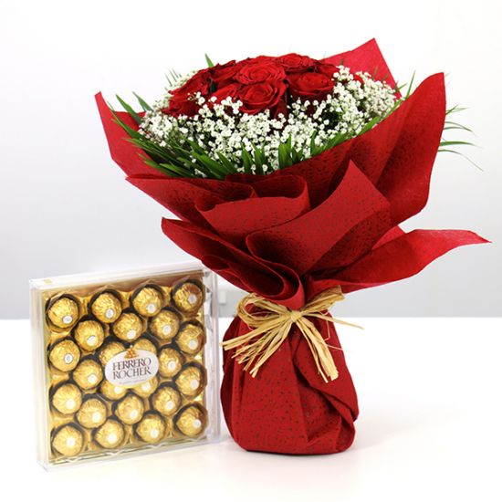 Romance of Red Rose with Ferrero Rocher Chocolate