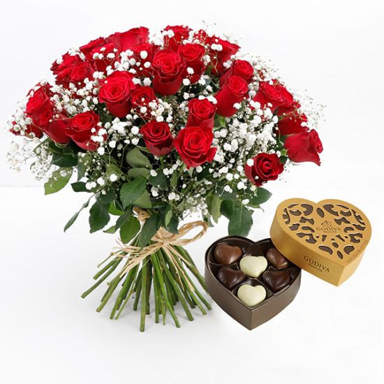 Bouquet of 25 Red Roses with Godiva Coeur