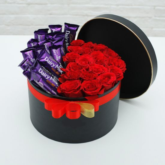 Box of Red Roses with Cadbury Dairy Milk Chocolates
