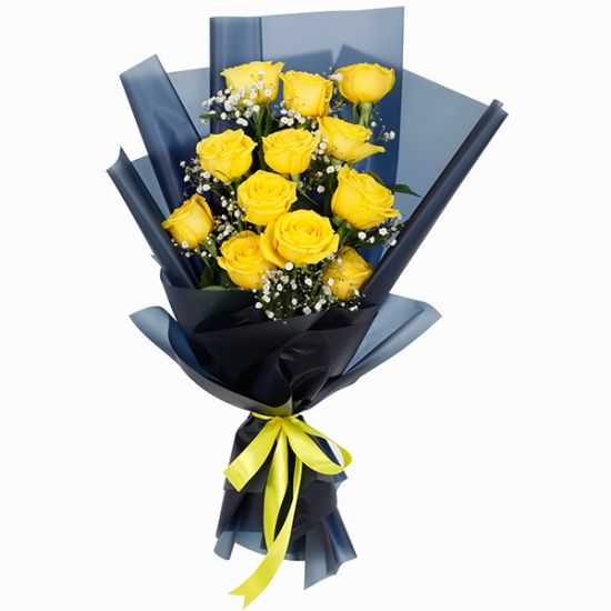 Designer Bouquet of 12 Yellow Roses