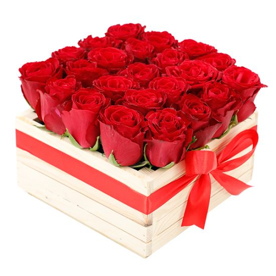 Romance of Red Roses in Wooden Box