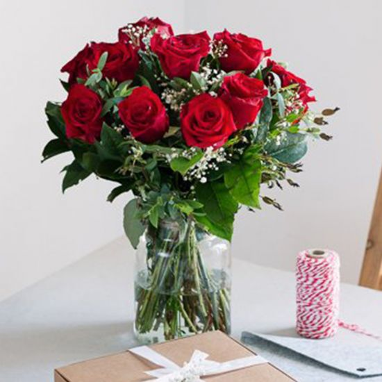 Love of 12 Red Roses In A Vase