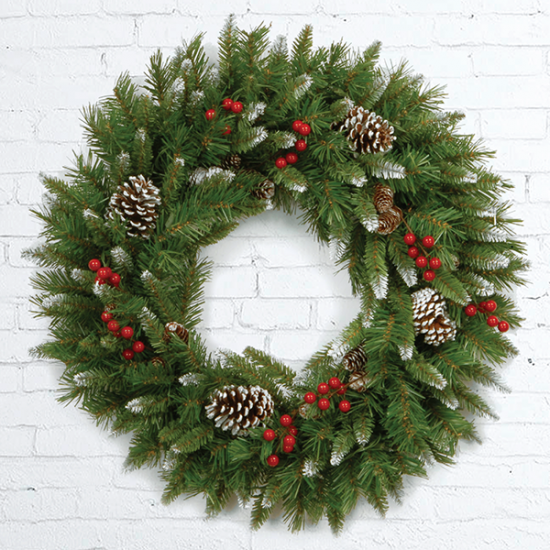Fresh Christmas Wreath with Silver Decor