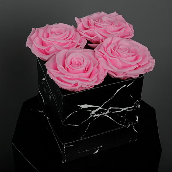 Long Lasting Preserved Pink Rose in a Black Box