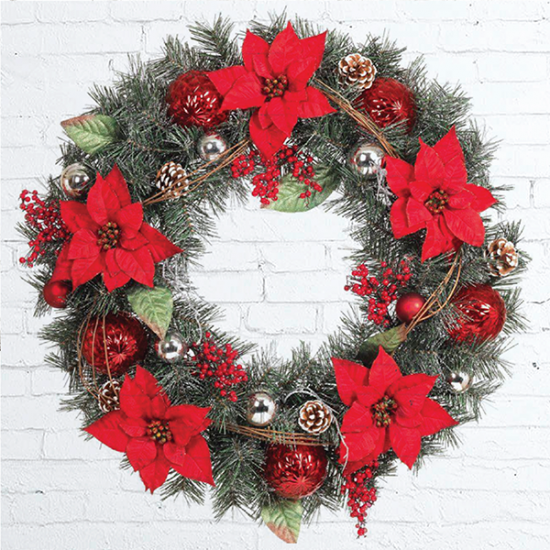 Fresh Christmas Wreath with Poinsettias Decor