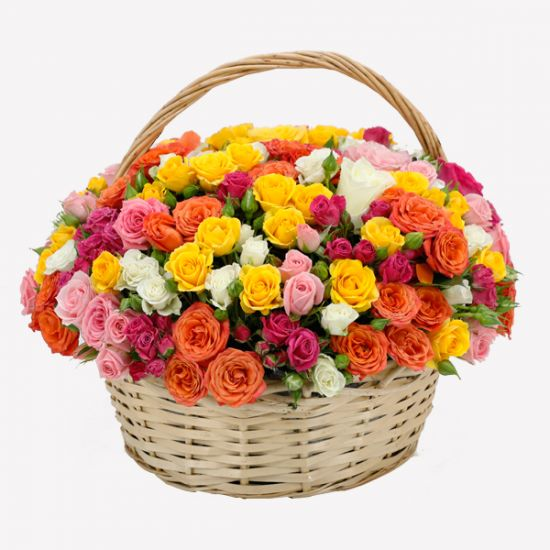 Basket of Colourful Spray Roses