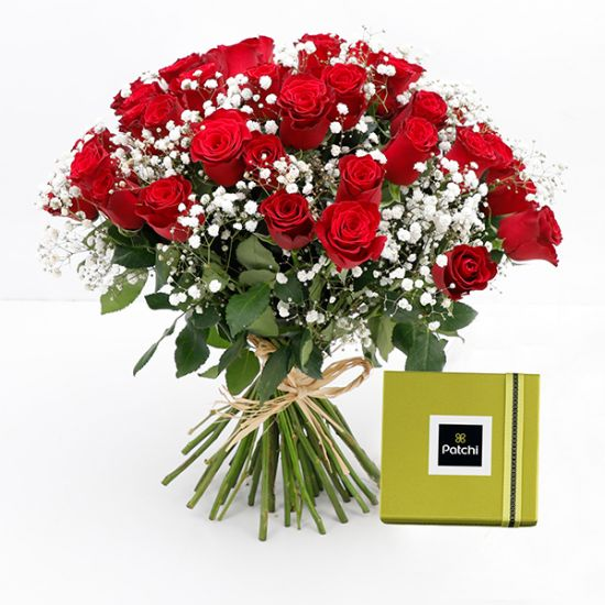 Bouquet of 25 Red Roses with Patchi Chocolate