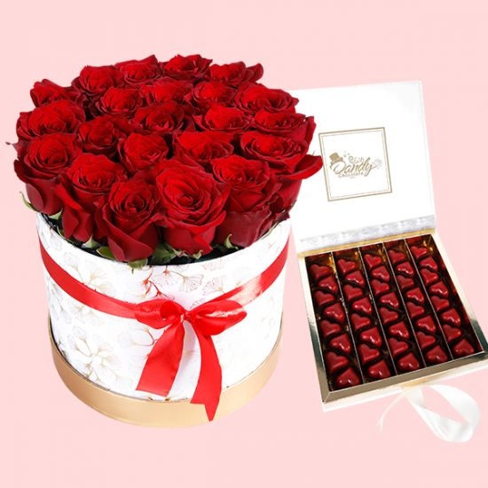 Eternal Box of Red Roses and Heart Shaped Chocolates