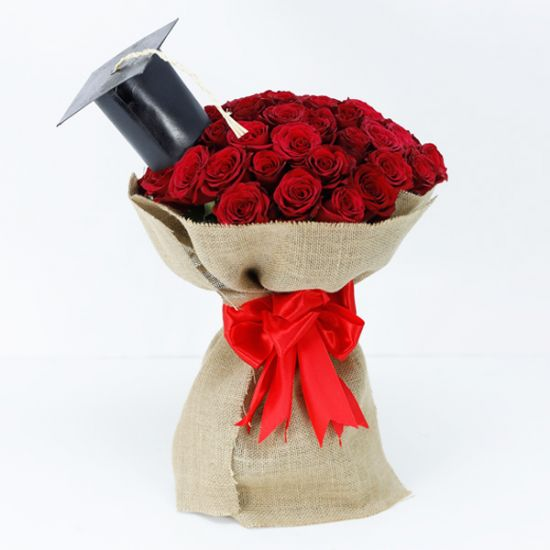 Graduation Bouquet of Red Roses