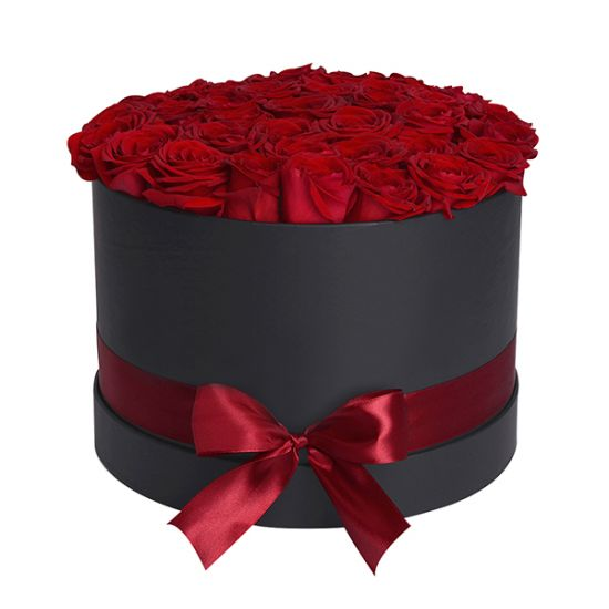 Red Roses in Black Round Box