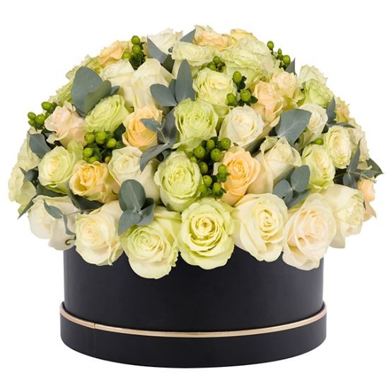 Signature Box of White and Peach Roses