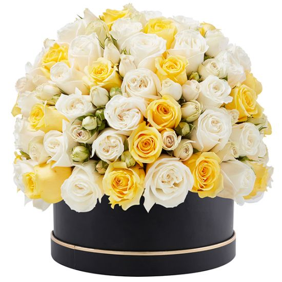 Signature Box of White and Yellow Roses