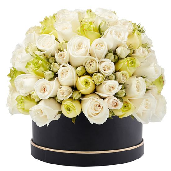 Signature Box of White and Green Roses