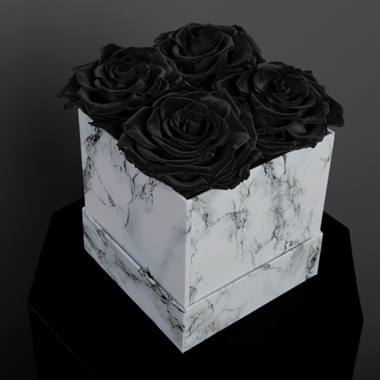 Long Lasting Preserved Black Rose in a White Box
