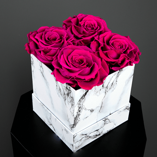 Long Lasting Preserved Fuchsia Rose in a White Box