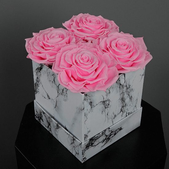 Long Lasting Preserved Pink Rose in a White Box