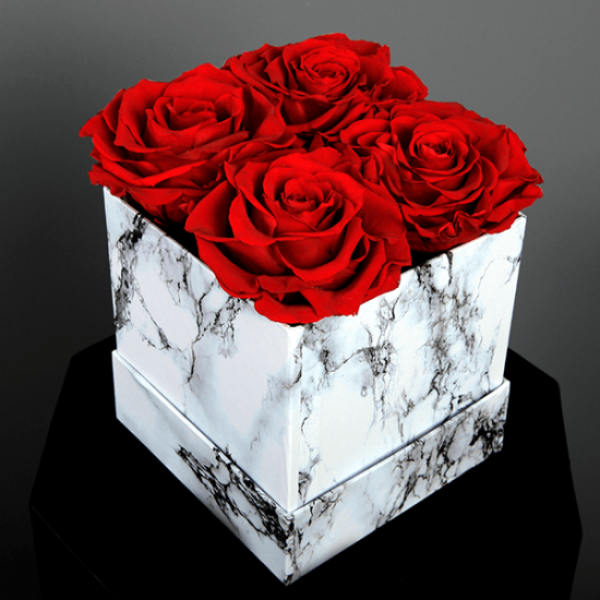 Long Lasting Preserved Red Rose in a White Box