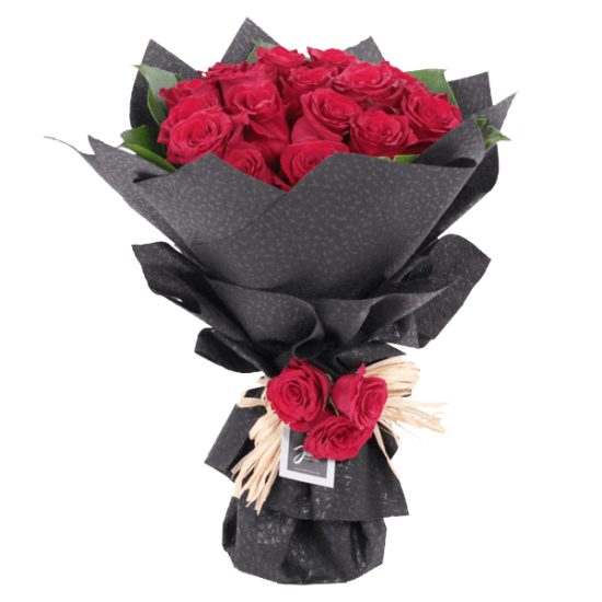 Red Rose in Black Wrap