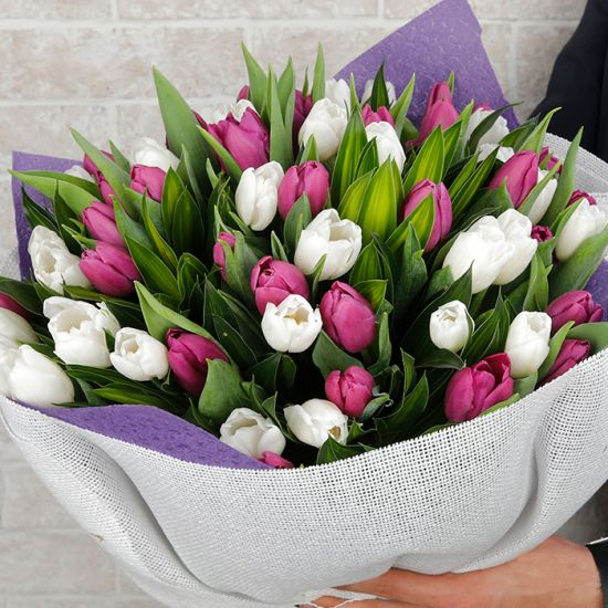 White and Purple Tulip Bouquet