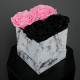 Long Lasting Preserved Rose Black & Pink in a White Box