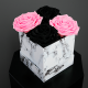 Long Lasting Preserved Rose Pink & Black in a White Box